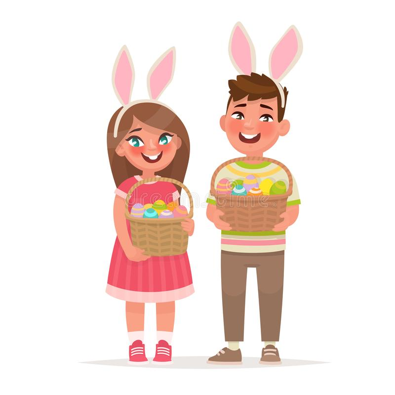 wielkanoc szczęśliwy Dzieci z koszami pełno jajka Chłopiec i dziewczyna ubieraliśmy w królików ucho royalty ilustracja