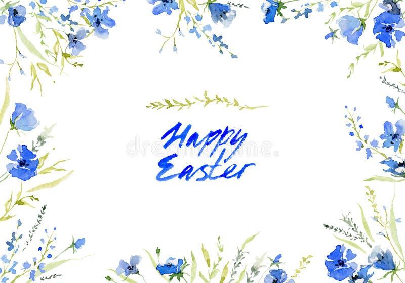 wielkanoc szczęśliwy Nieociosany tło z kolekcją delikatni błękitów kwiaty i ręcznie pisany literowanie Botaniczny skład dla witać ilustracja wektor