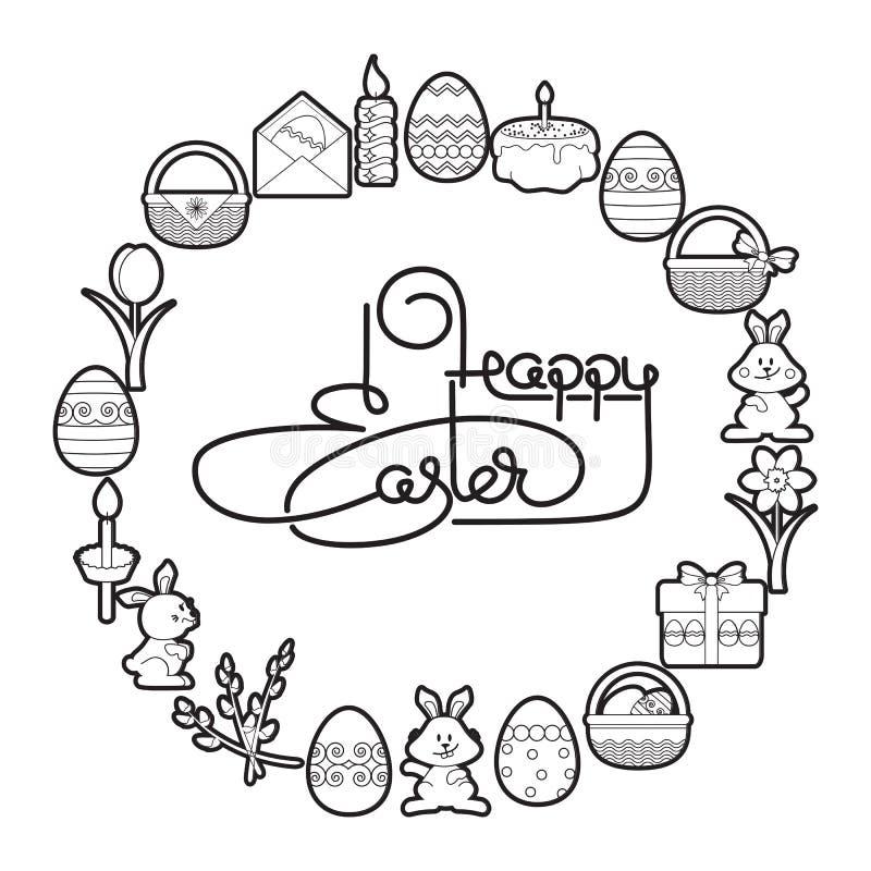 wielkanoc szczęśliwy Ręcznie pisany literowanie z jajkami wektor ilustracji