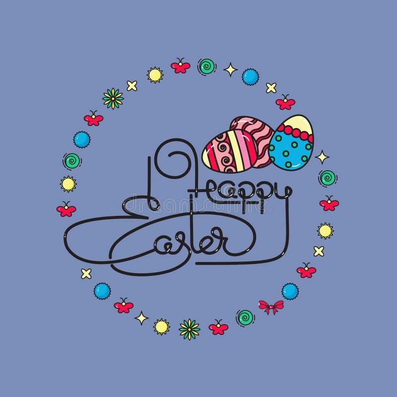 wielkanoc szczęśliwy Ręcznie pisany literowanie z jajkami wektor ilustracja wektor