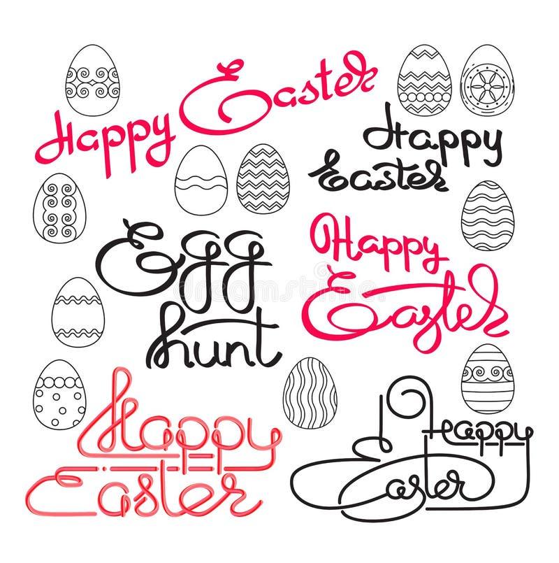 wielkanoc szczęśliwy Ręcznie pisany literowanie z jajkami wektor royalty ilustracja