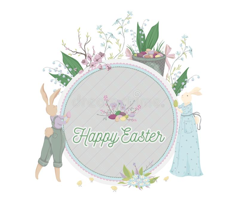 wielkanoc szczęśliwy Rocznik kartka z pozdrowieniami z królikiem, jajka, kwiaty, kosz, wiosny drzewo, kurczątka Wakacyjny projekt ilustracja wektor