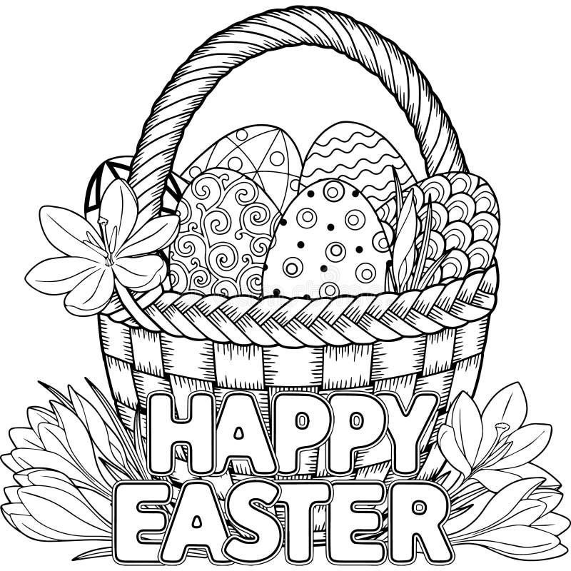 wielkanoc szczęśliwy Czarny I Biały Doodle Wielkanocni jajka w koszu Kolorystyki książka dla dorosłych dla relaksuje i medytacja  ilustracja wektor