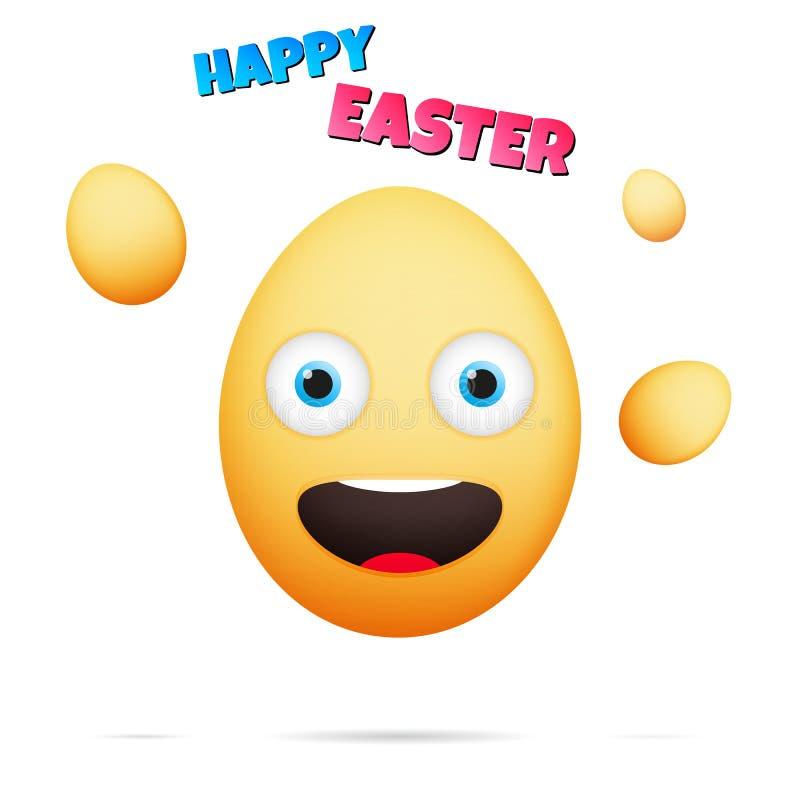 wielkanoc szczęśliwy Emoticon dla wielkanocy Jajeczny emoji w kreskówka stylu royalty ilustracja