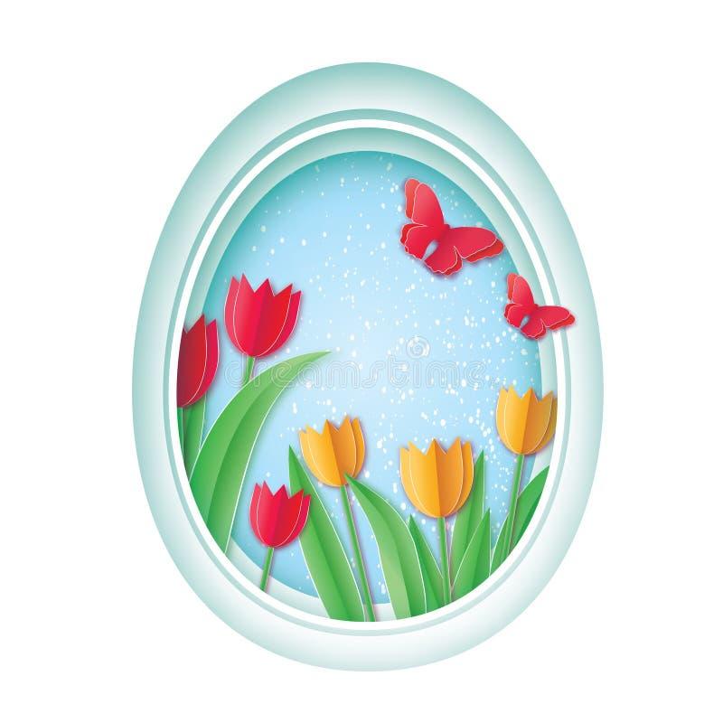 wielkanoc szczęśliwy Kolorowego papieru rżnięty Wielkanocny jajko, Czerwony Żółty Tulipanowy kwiat Motyl ilustracja wektor