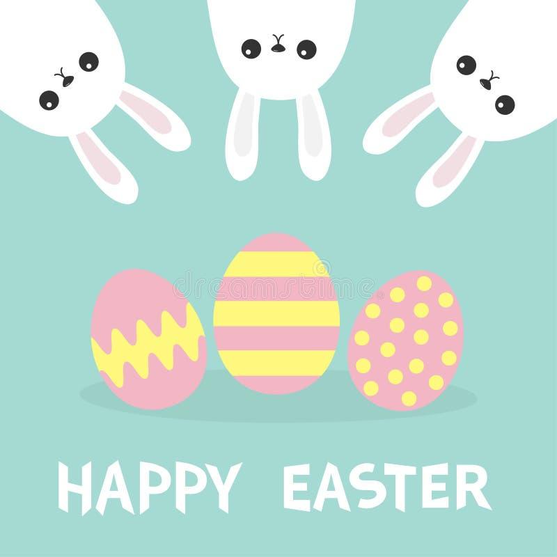 wielkanoc szczęśliwy Trzy królika królika wieszać do góry nogami Picaboo Malujący deseniowy jajko set Płaski projekt Śmieszna kie ilustracja wektor