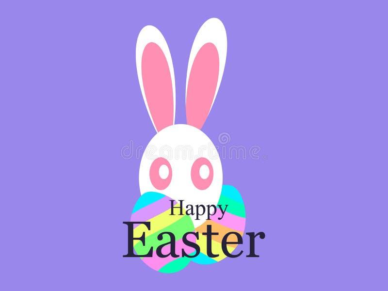 wielkanoc szczęśliwy Wakacje karta z Wielkanocnym królikiem i jajka z wzorem wektor royalty ilustracja