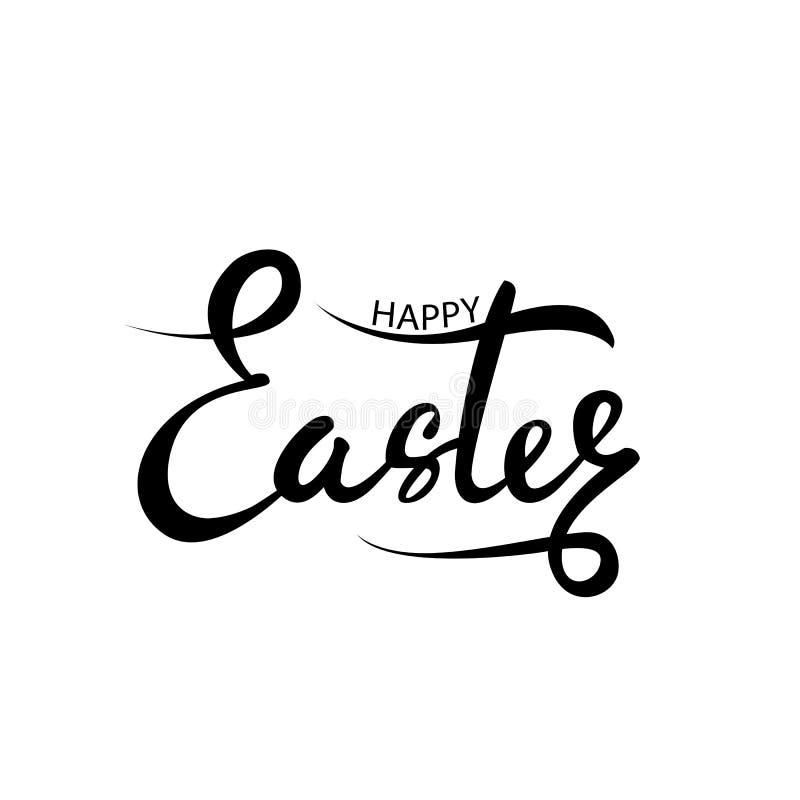 wielkanoc szczęśliwy Wektorowy literowanie pojedynczy białe tło Ręka pisać szczęśliwy Wielkanocny zwrot royalty ilustracja