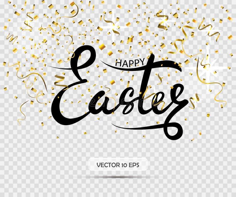 wielkanoc szczęśliwy Wektorowy literowanie z złocistymi confetti na przejrzystym tle ilustracji