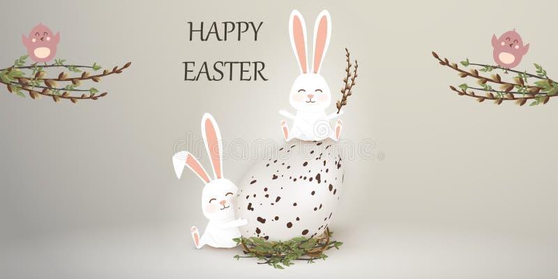 wielkanoc szczęśliwy Wielkanocny królika królik z realistycznym jajkiem na szarym gackground Śliczny, śmieszny kreskówka królików ilustracja wektor