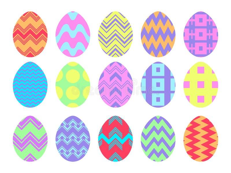 wielkanoc szcz??liwy Kolekcja Wielkanocni jajka z wzorami na bia?ym tle wektor ilustracji
