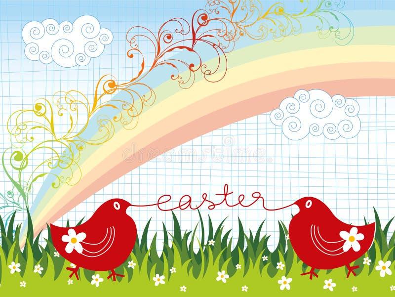 Wielkanoc tęczową kwitnie laski ilustracja wektor
