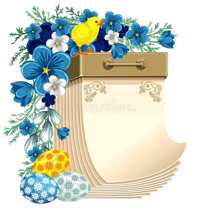 Wielkanoc tear-off kalendarz ilustracja wektor