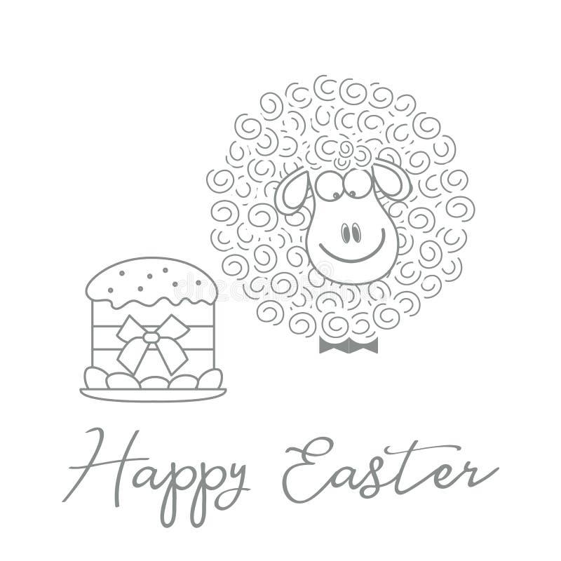 Wielkanoc tort, baranek karcianego koloru Easter jajek ramowego powitania szczęśliwa roślina royalty ilustracja