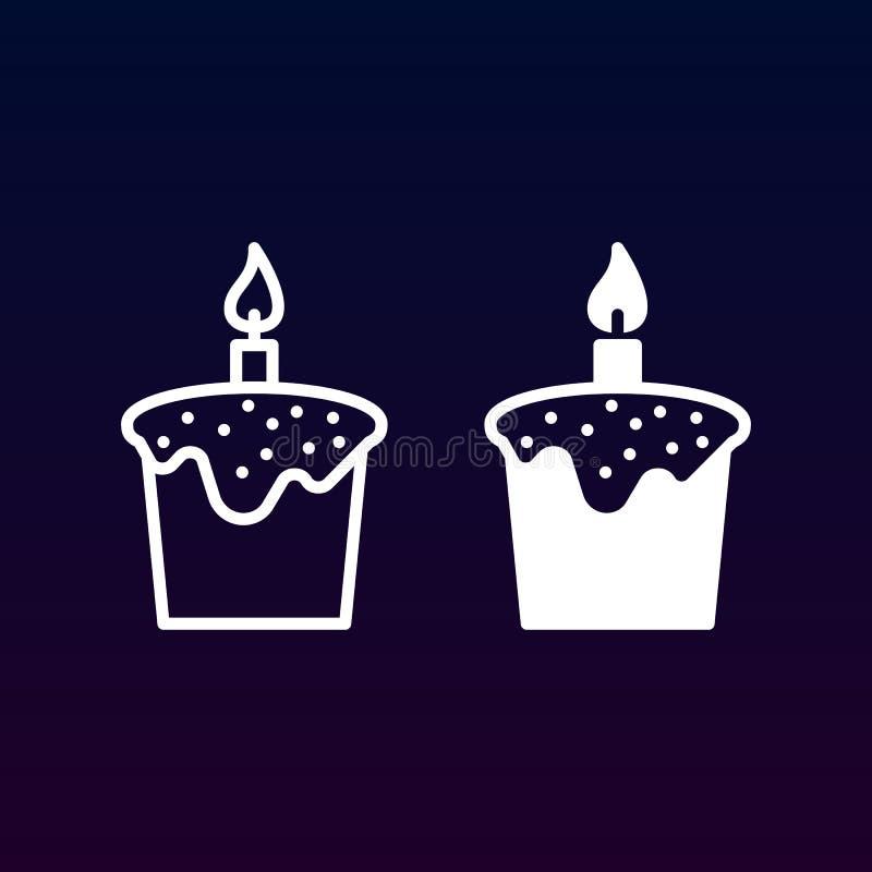 Wielkanoc tort kreskowy, stała ikona, kontur i piktogram odizolowywający na bielu, wypełniający wektoru znaka, liniowego i pełneg ilustracji