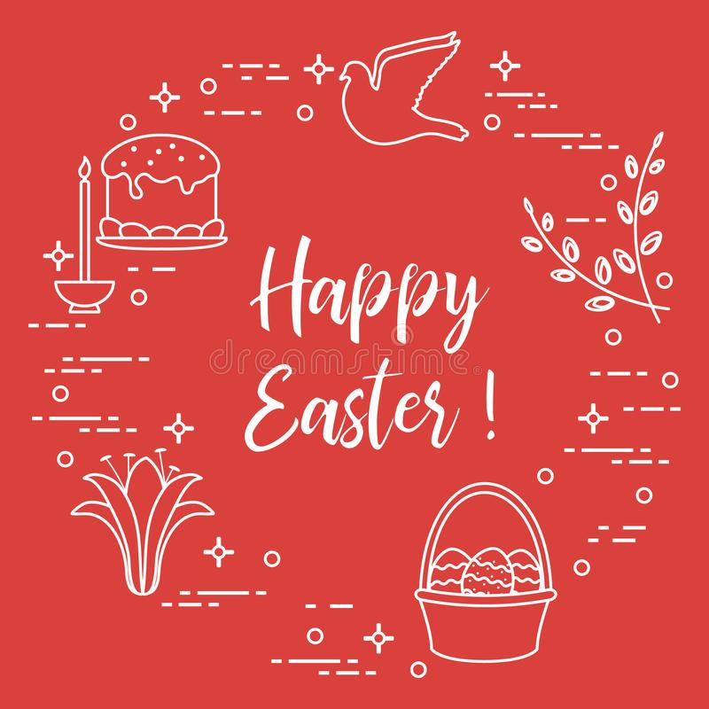 Wielkanoc tort, wierzba, leluja, świeczka, gołąbka, kosz, jajka ilustracja wektor