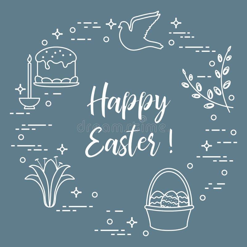 Wielkanoc tort, wierzba, leluja, świeczka, gołąbka, kosz, jajka royalty ilustracja