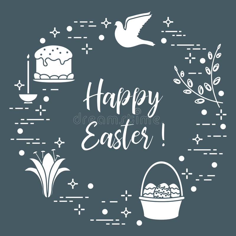 Wielkanoc tort, wierzba, leluja, świeczka, gołąbka, kosz, jajka ilustracji