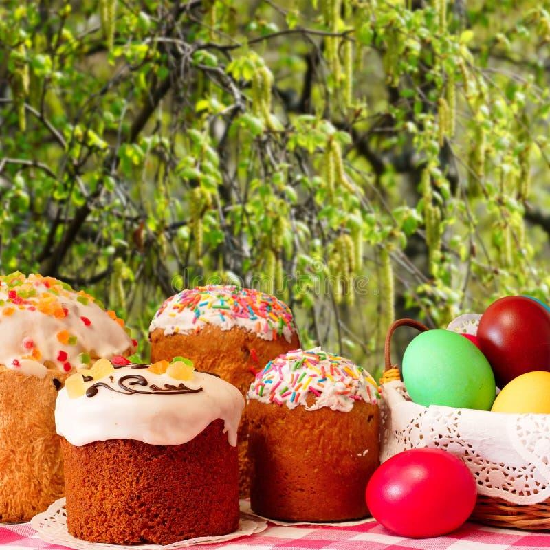 Wielkanoc torty i kolorowi jajka na tle kwiatonośna brzoza obrazy royalty free