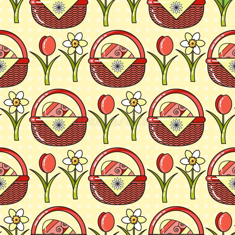Wielkanoc Wakacyjny kolorowy tło wektor bezszwowy wzoru ilustracji