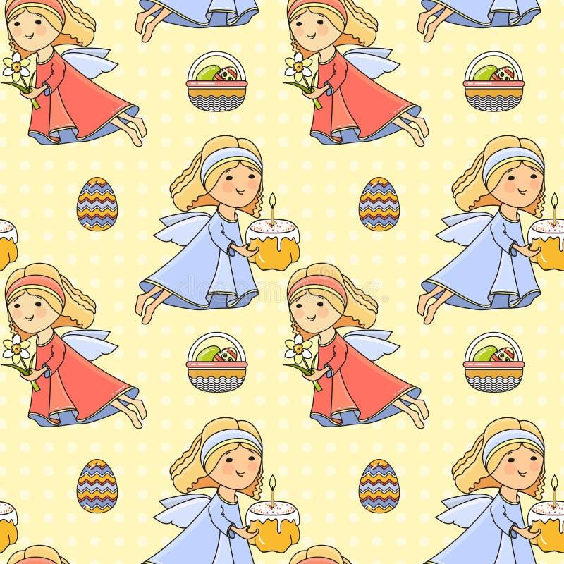 Wielkanoc Wakacyjny kolorowy tło wektor bezszwowy wzoru ilustracja wektor