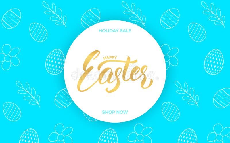 Wielkanoc Wielkanocny sprzedaż sztandaru tło z Wielkanocnym literowania i wakacje wiosny wzorem royalty ilustracja