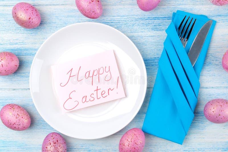 Wielkanoc Wielkanocy stołowy położenie E wielkanoc szczęśliwy wakacje na widok obraz royalty free