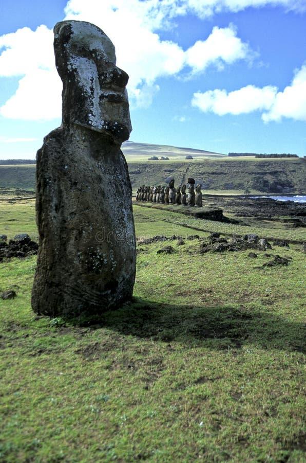 Wielkanoc wyspy moais chile fotografia royalty free
