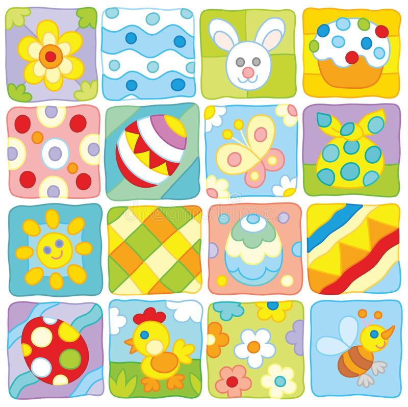 Wielkanoc wzór w dziecka ` s stylu royalty ilustracja