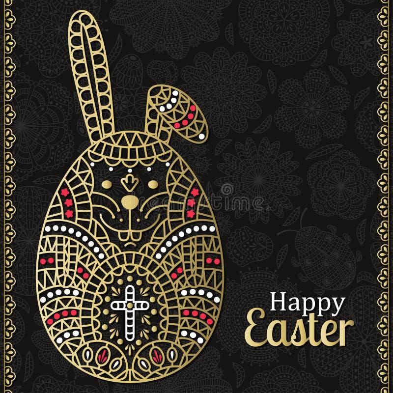 Wielkanoc wzór z białymi Wielkanocnymi granicami i królikiem Kwiecisty tło przy plecy Tekst Szczęśliwa wielkanoc złoty projektu W royalty ilustracja
