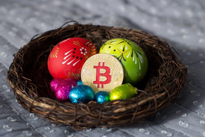 Wielkanocna Bitcoin moneta zdjęcie stock