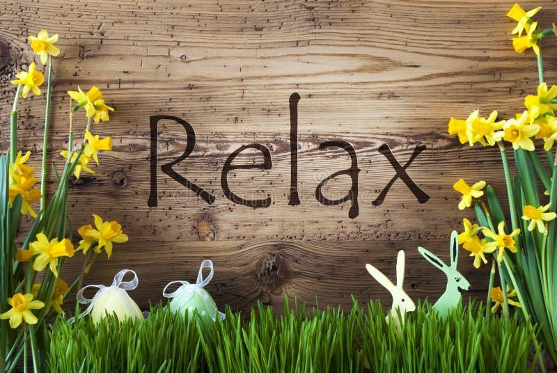 Wielkanocna dekoracja, trawa, tekst Relaksuje, królik, jajko zdjęcia stock