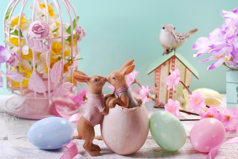 Wielkanocna dekoracja w pastelowych kolorach zdjęcia stock