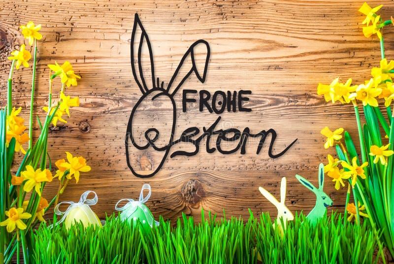 Wielkanocna dekoracja, wiosna kwiatu kaligrafia Frohe Ostern Znaczy Szczęśliwą wielkanoc zdjęcia royalty free