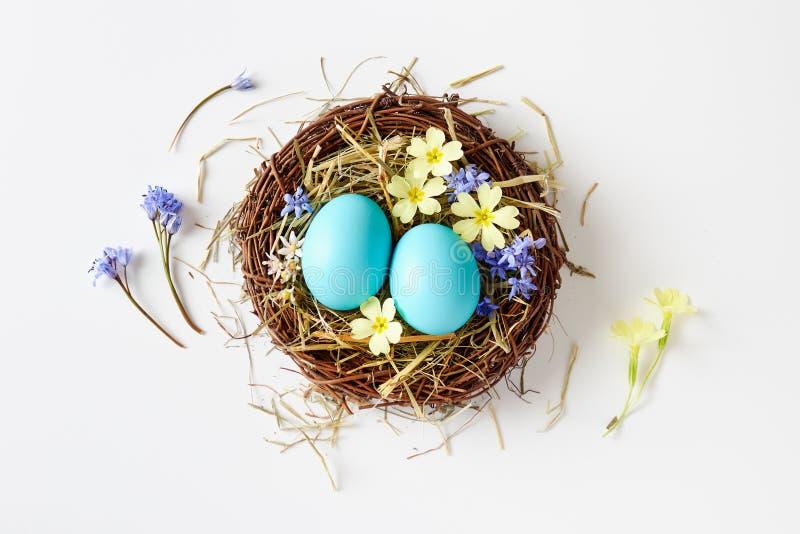 Wielkanocna dekoracja z gniazdeczkiem, jajkami i wiosną, kwitnie zdjęcie stock