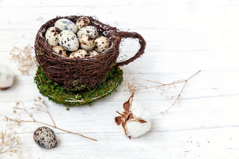 Wielkanocna dekoracja z jajkiem w gniazdowej filiżance i bawełna na bielu wykładamy marmurem tło zdjęcie stock
