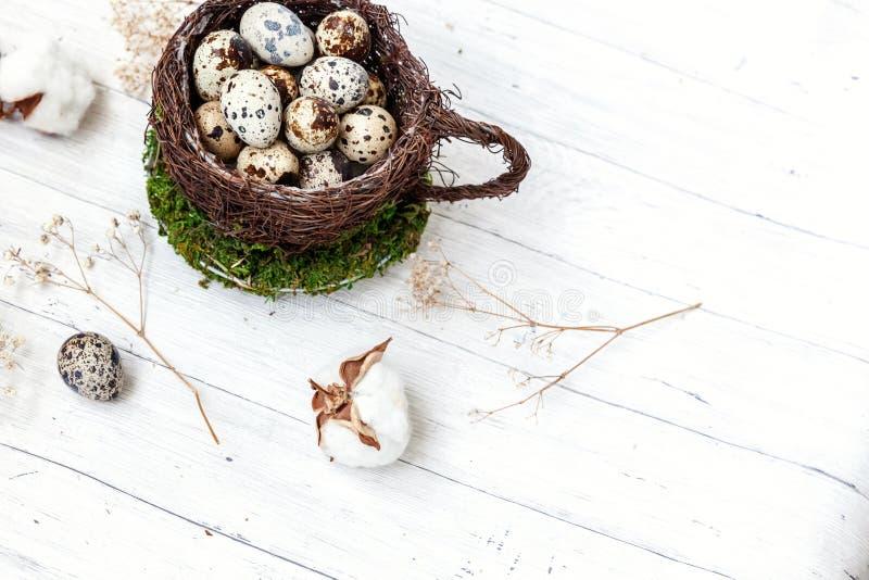 Wielkanocna dekoracja z jajkiem w gniazdowej filiżance i bawełna na bielu wykładamy marmurem tło obraz stock