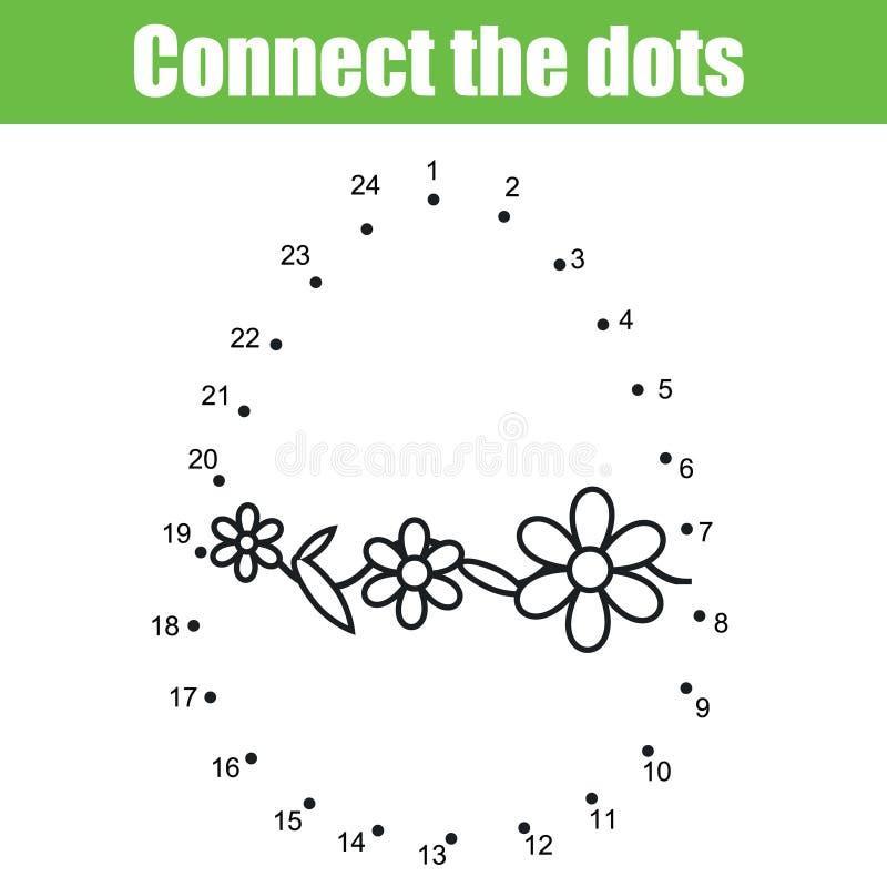 Wielkanocna gra Łączy kropki liczbami Dziecko edukacyjna gra Printable worksheet aktywność royalty ilustracja