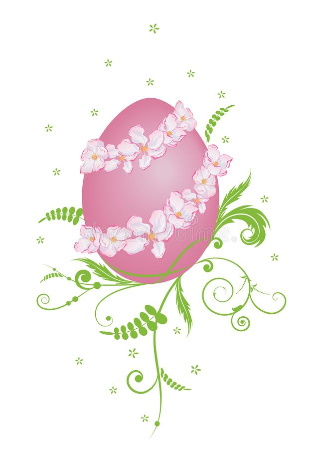 Wielkanocna ilustracja z jajkiem i jabłkiem ilustracji