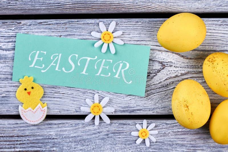 Wielkanocna karta i odczuwane dekoracje obraz royalty free