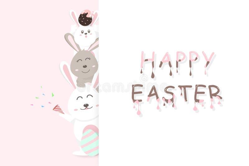 Wielkanocna karta, szczęśliwy powitanie wakacje, deserowa dekoracja świętuje partyjnego plakat, uroczy królik z jajka różowym pas ilustracja wektor