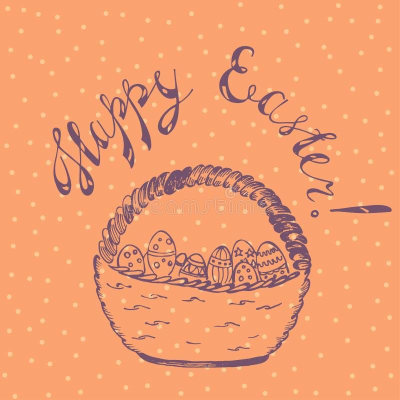Wielkanocna karta z Łozinowym koszem ilustracji