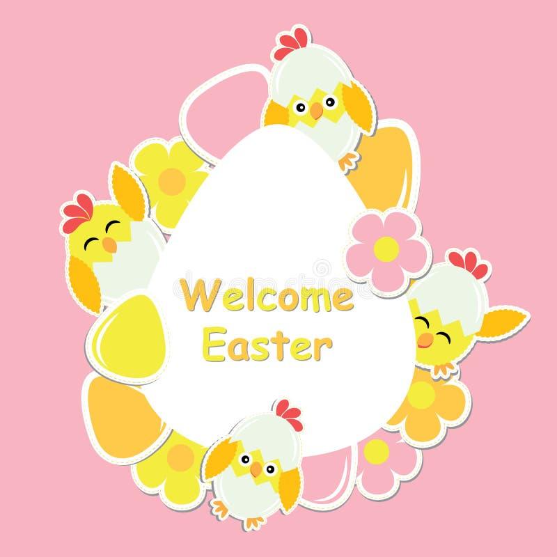 Wielkanocna karta z ślicznym kurczątkiem, kwiatami i kolorowym jajkiem na jajko ramie, ilustracja wektor