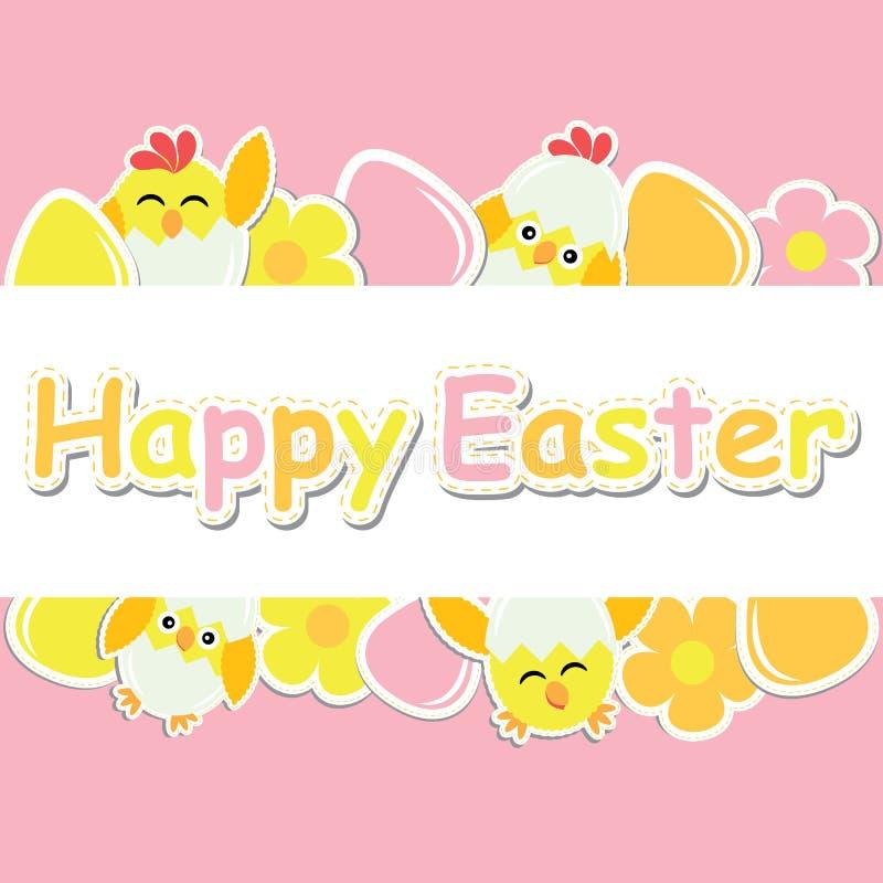 Wielkanocna karta z ślicznym kurczątkiem, kwiatami i kolorowym jajkiem na różowym tle, ilustracji