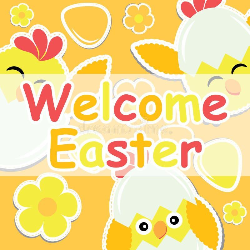 Wielkanocna karta z ślicznym kurczątkiem, kwiatem i kolorowym jajkiem na pomarańczowym tle, ilustracja wektor