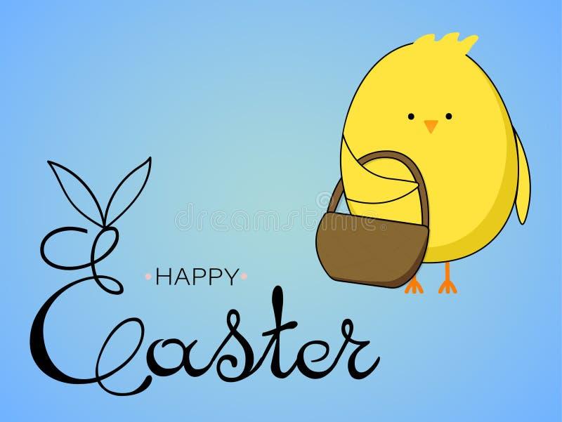 Wielkanocna karta z ?licznym kurczakiem, Wielkanocni jajka na b??kitnym tle zdjęcie royalty free