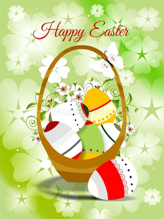 Wielkanocna karta z barwionym jajkiem i wiosną kwitnie royalty ilustracja