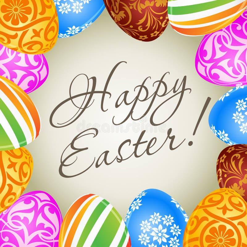 Wielkanocna karta z Dekorującymi jajkami royalty ilustracja