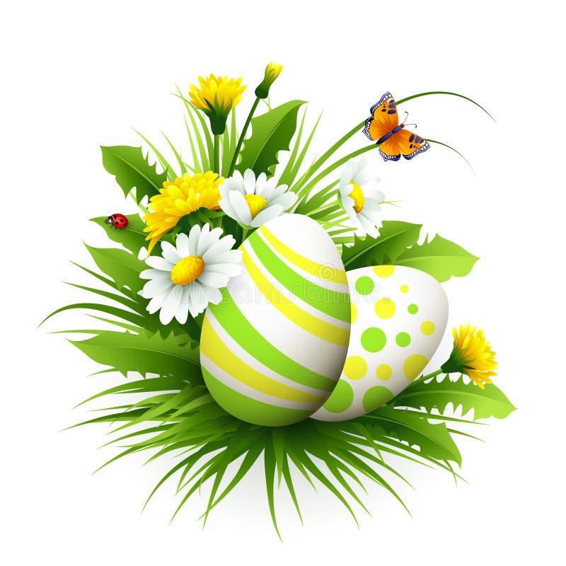 Wielkanocna karta z jajkami i kwiatami również zwrócić corel ilustracji wektora ilustracja wektor