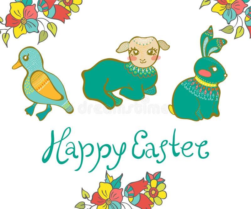 Wielkanocna karta z kaczką, barankiem, królikiem i kwiatami, ilustracja wektor
